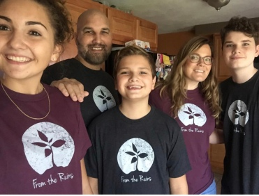 Our family wearing our shirts for the first time